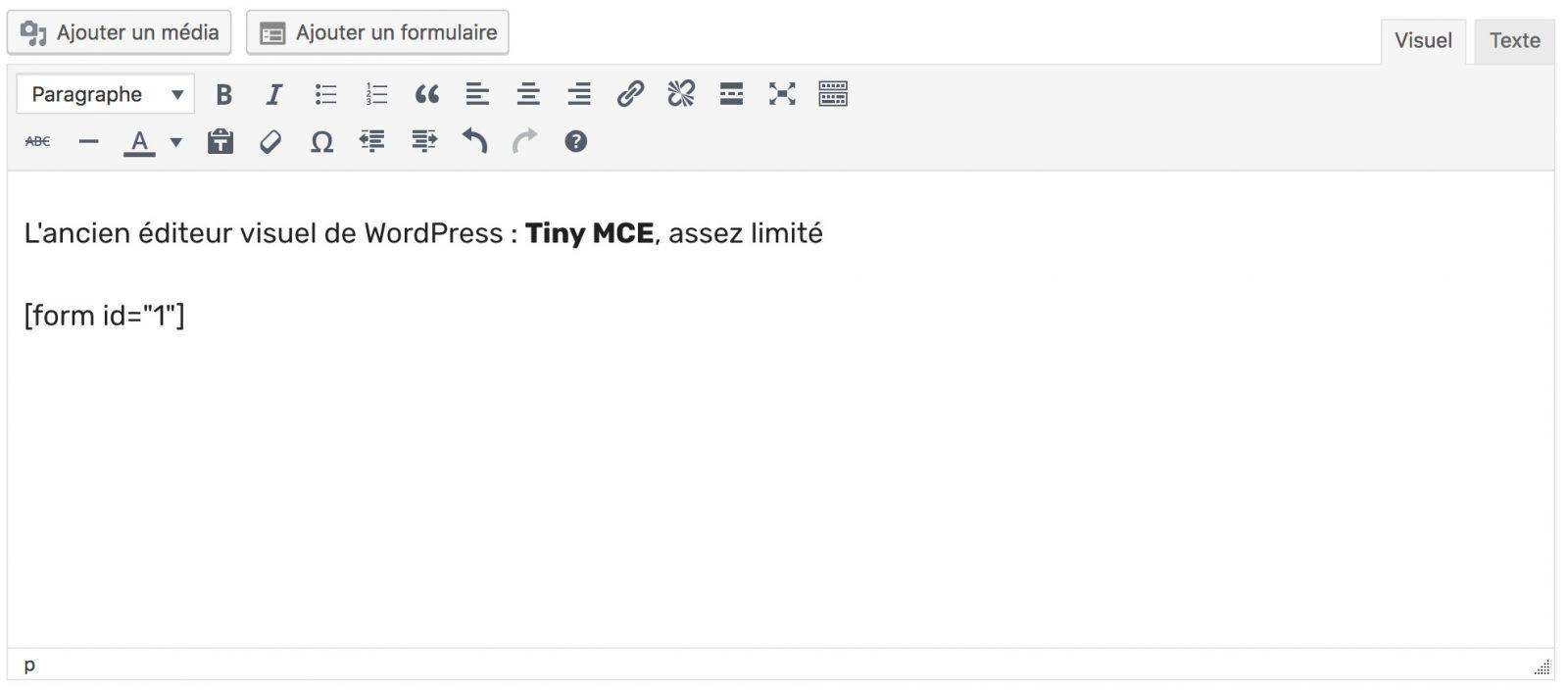 Tiny MCE, l'ancien éditeur de texte de WordPress