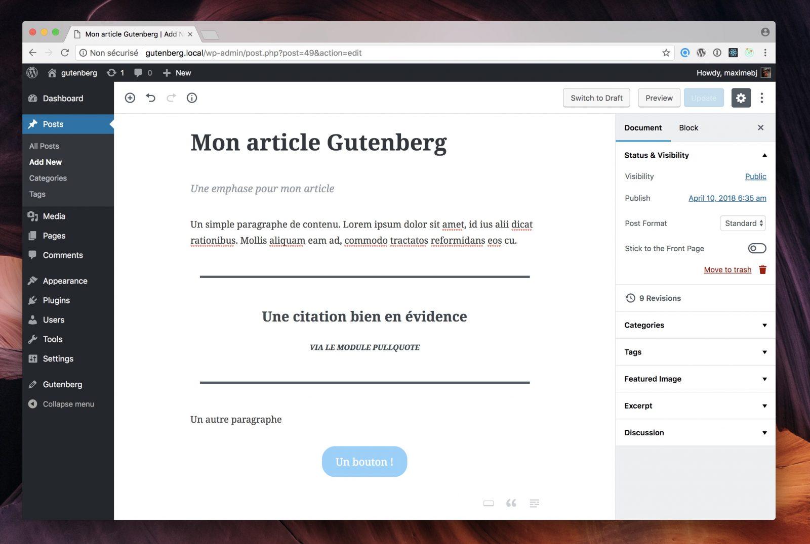 l'éditeur visuel ne propose d'écrire du contenu que dans une seule zone de la page