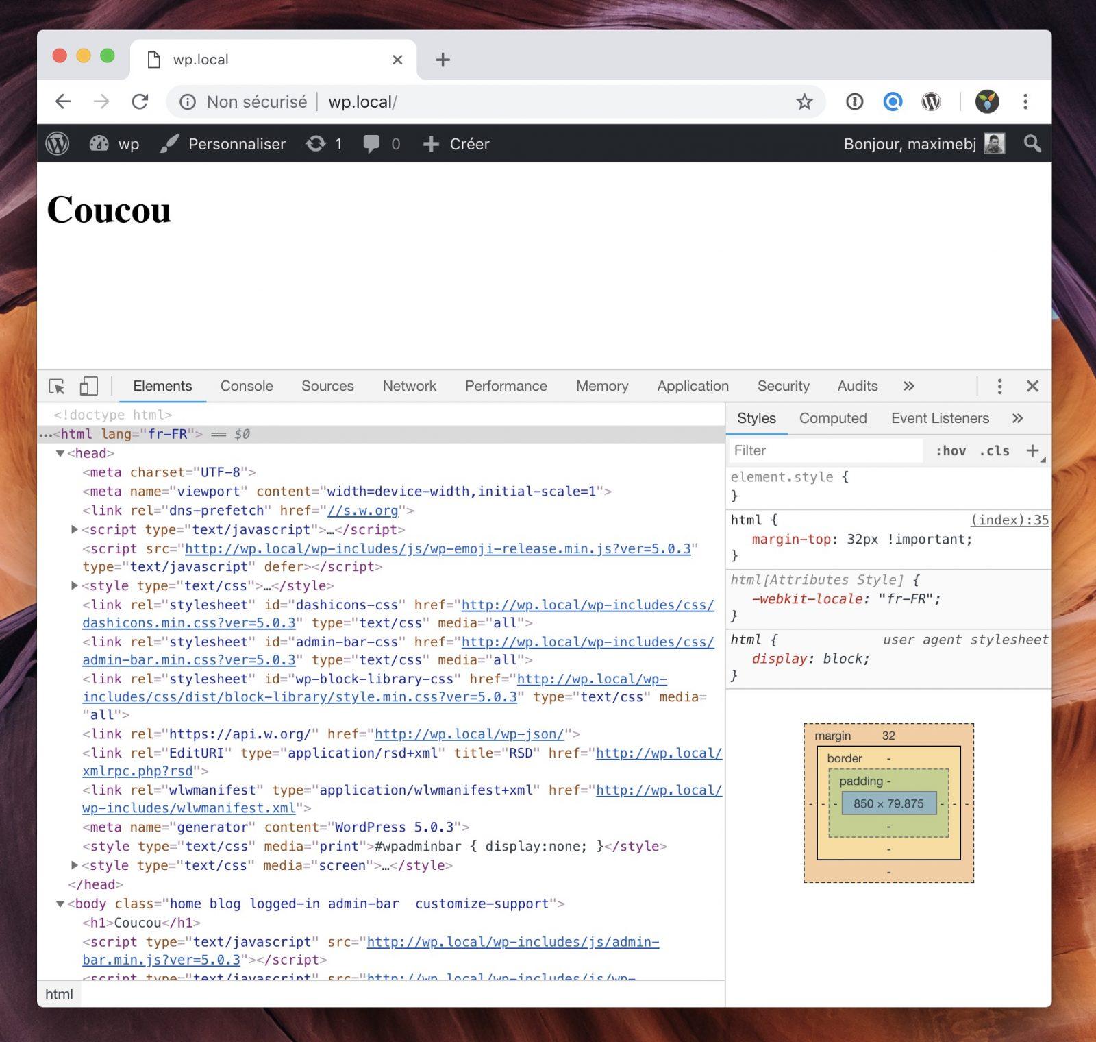 Rendu du site avec les fichiers header et footer séparés