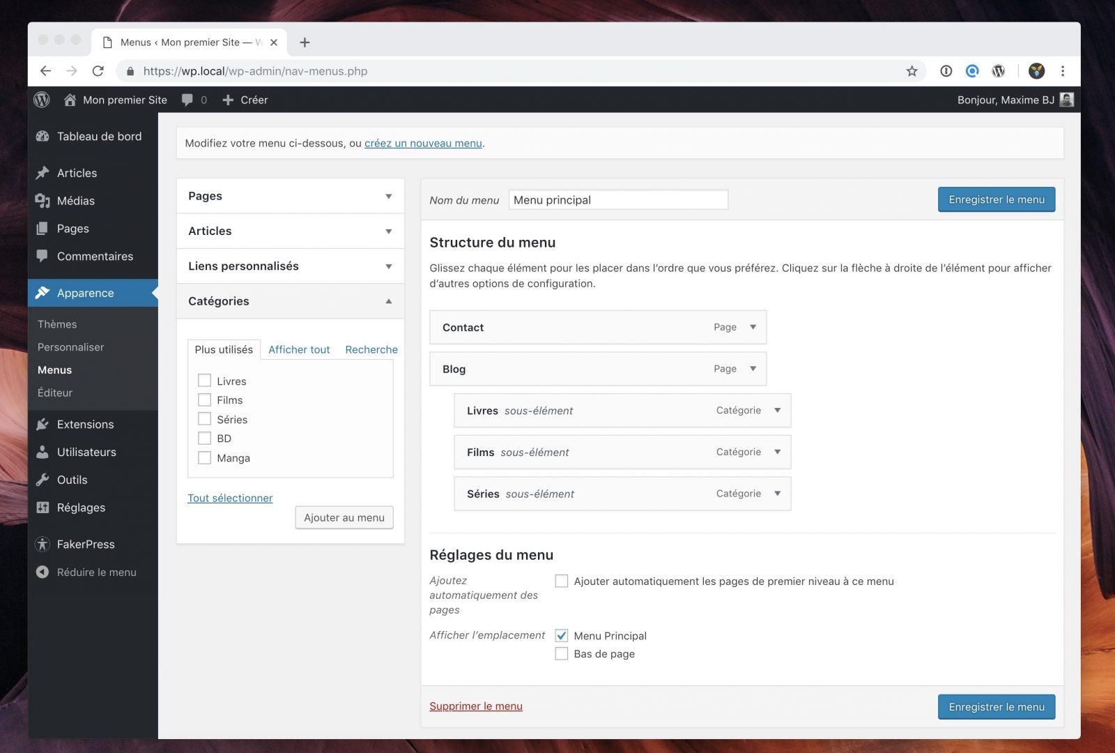 L'interface de gestion des menus dans WordPress.