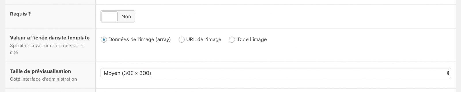 Les différents choix de données renvoyées par ACF pour l'image