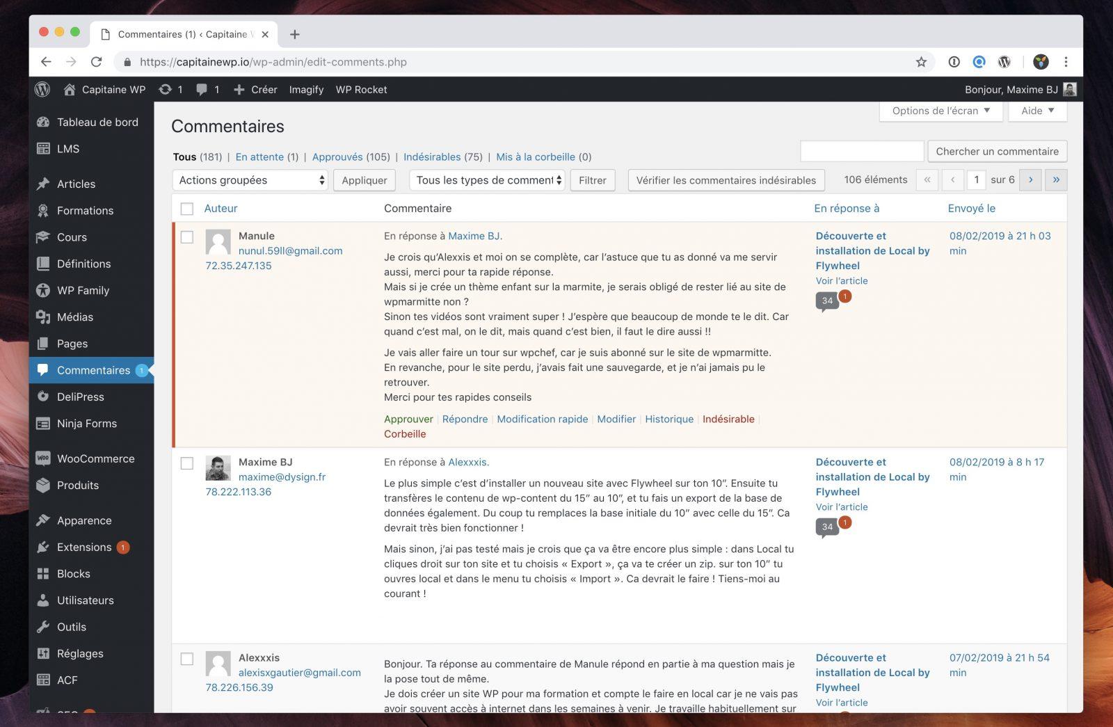 L'interface de gestion des commentaires dans WordPress, où on peut les approuver et les modifier