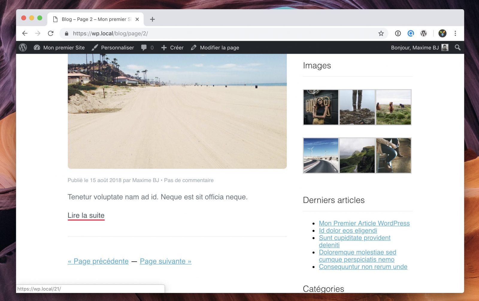Les liens Page précédente et Page suivante générés automatiquement par WordPress
