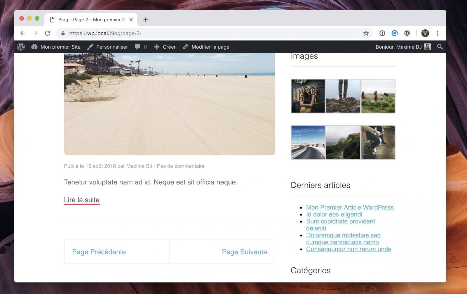 Les liens vers les pages suivante / précédente avec un peu plus de contrôle sur le CSS