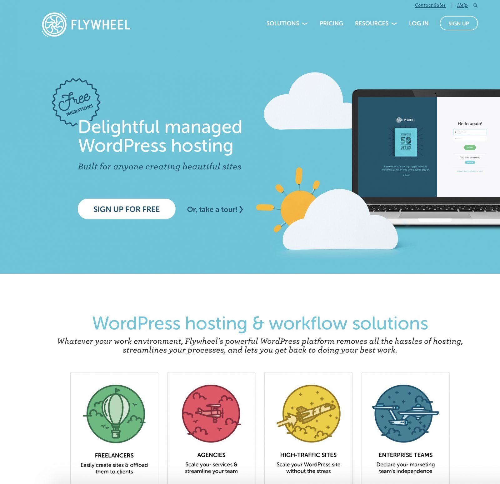 La page d'accueil de Flywheel, qui présente le service et ses avantages.