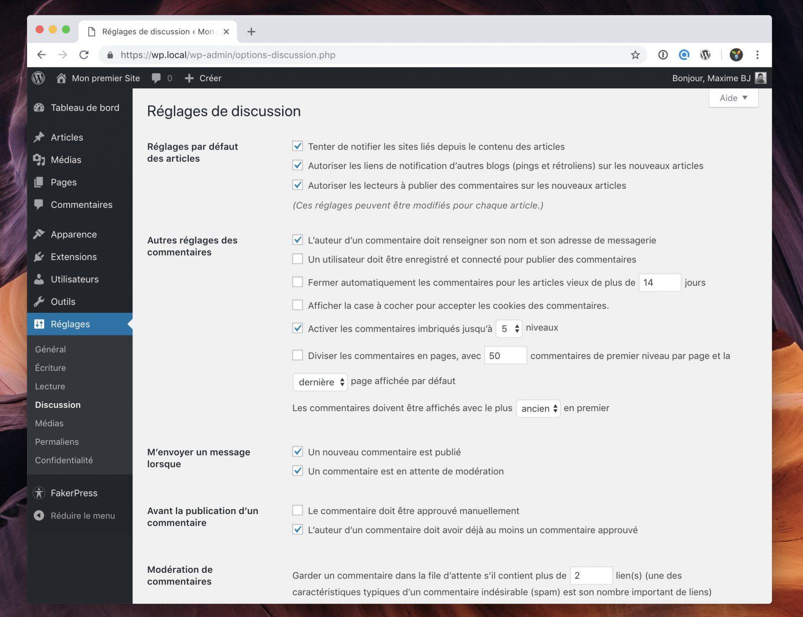 L'interface de configuration des commentaires de WordPress