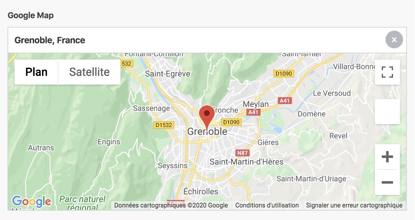 Le champ Google Map permet d'afficher une carte, chercher une adresse et insérer un marqueur.