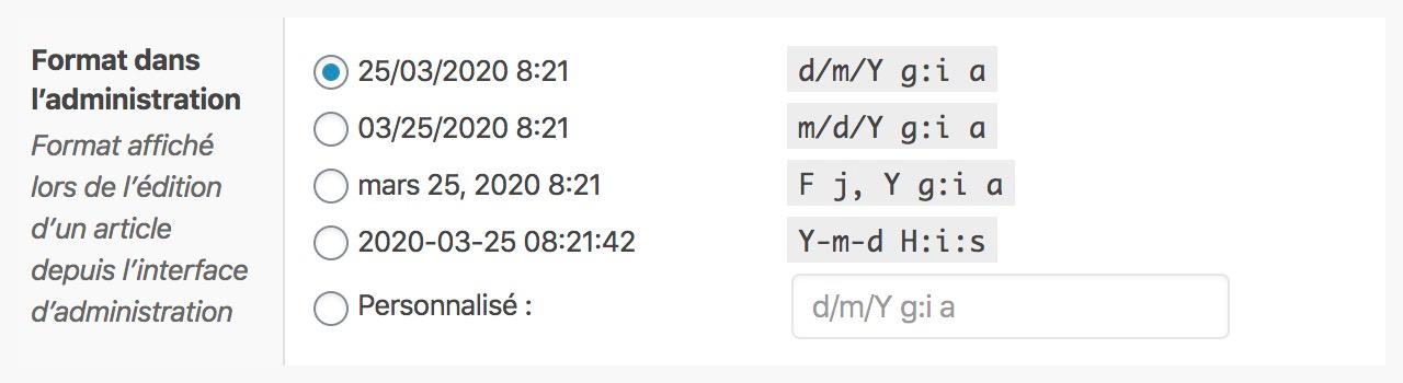 ACF propose plusieurs types de formats d'heure et dates