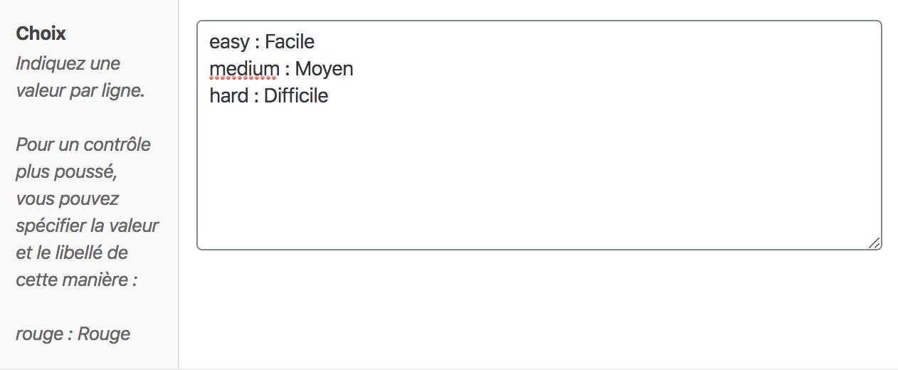 L'interface de saisie des choix de la liste déroulante d'ACF