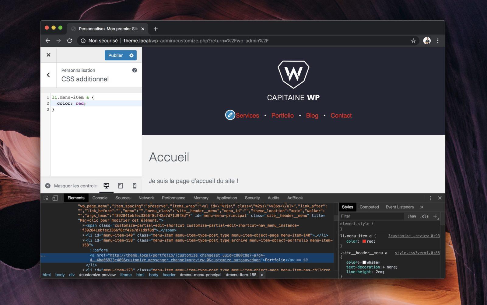 Capture d'écran de l'outil de personnalisation de WordPress, montrant le panneau de CSS additionnel
