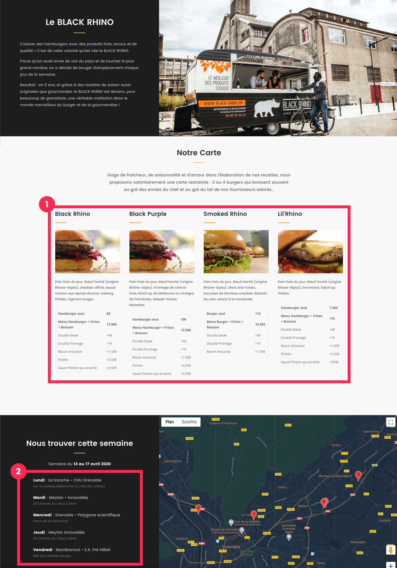 capture d'écran d'un site réalisé avec un constructeur de pages et présentant 2 blocs sur mesure