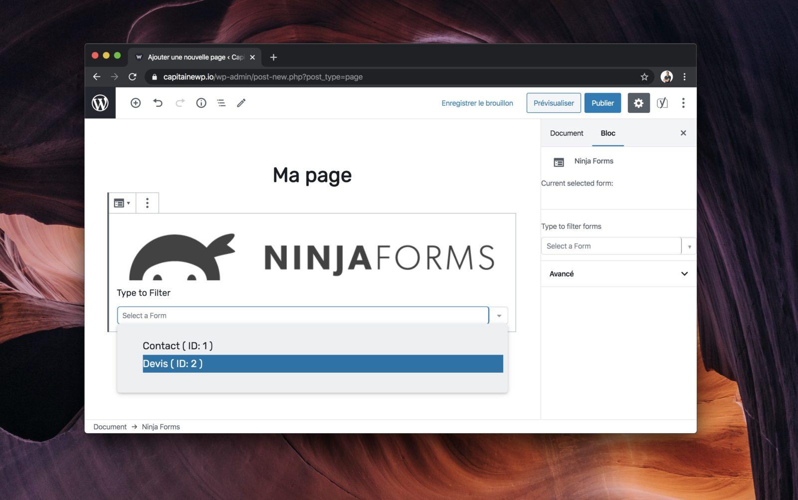 Capture d'écran de l'éditeur visuel de WordPress, montrant le bloc Ninja Forms