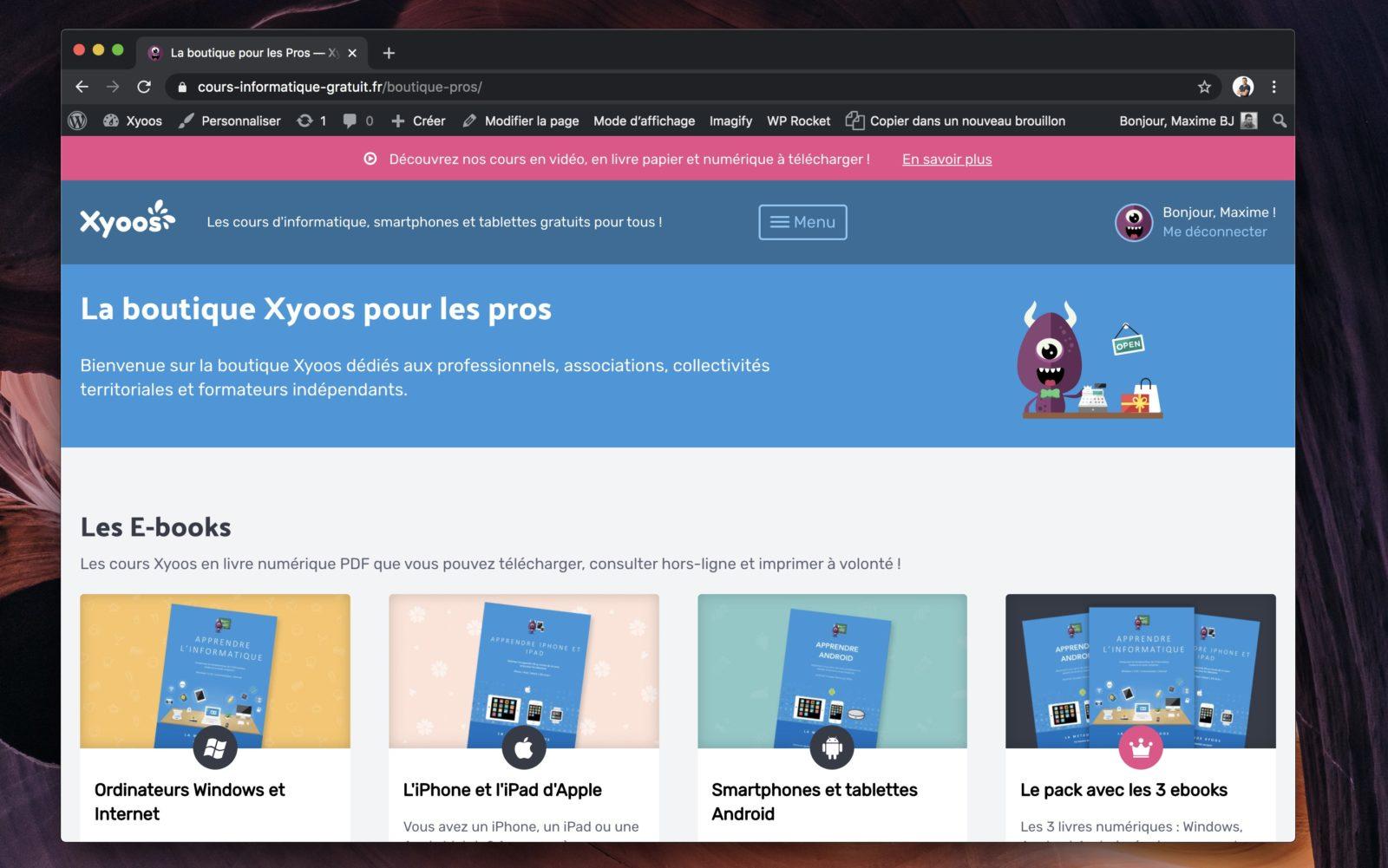 Capture d'écran d'une boutique en ligne faite avec WooCommerce