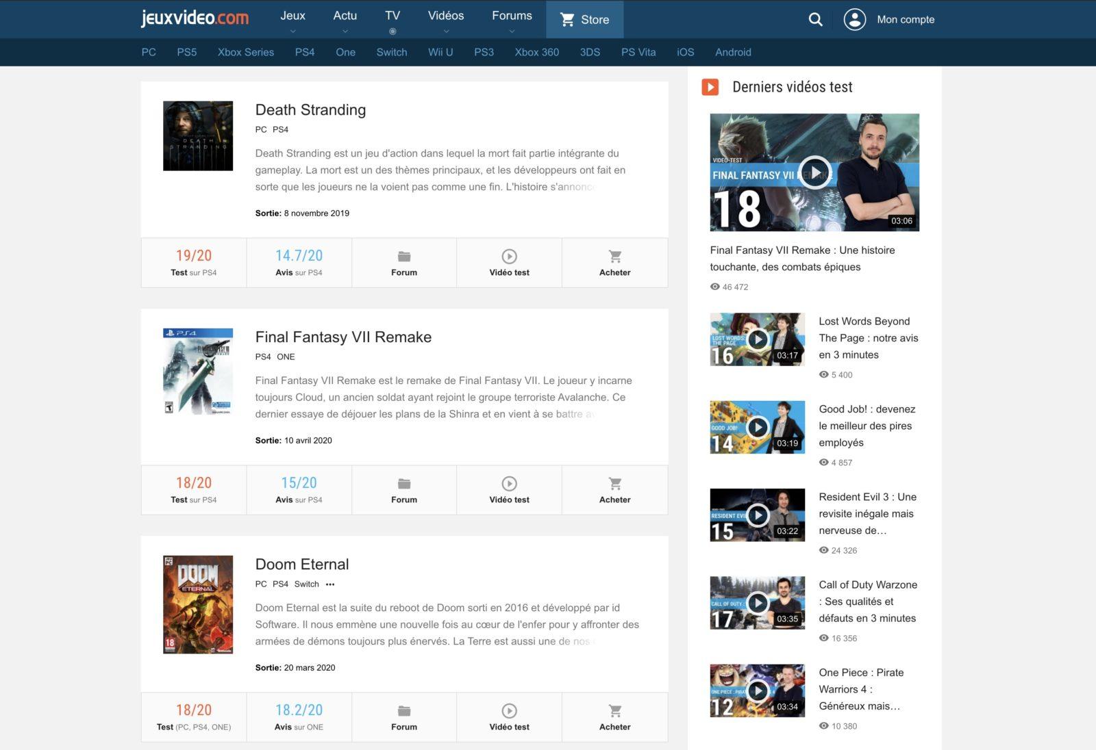 Capture d'écran de Jeuxvidéo.com, affichant les jeux du moment les mieux notés
