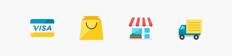 Icônes représentant le e-commerce