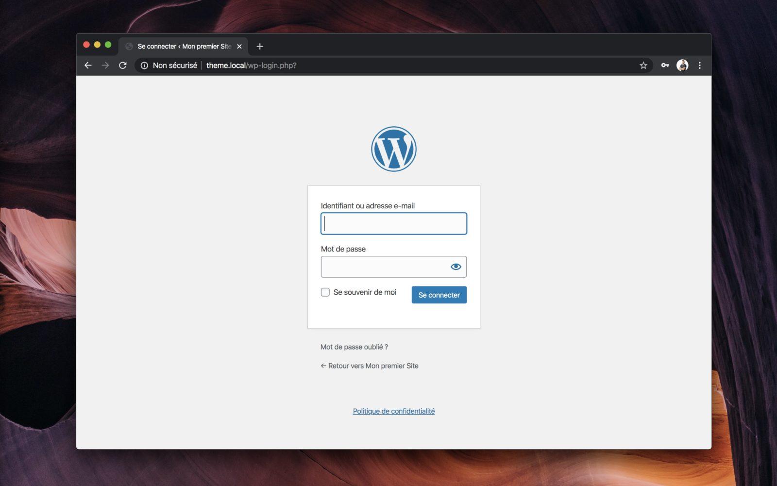 L'interface de connexion de WordPress, comme elle est présentée nativement.