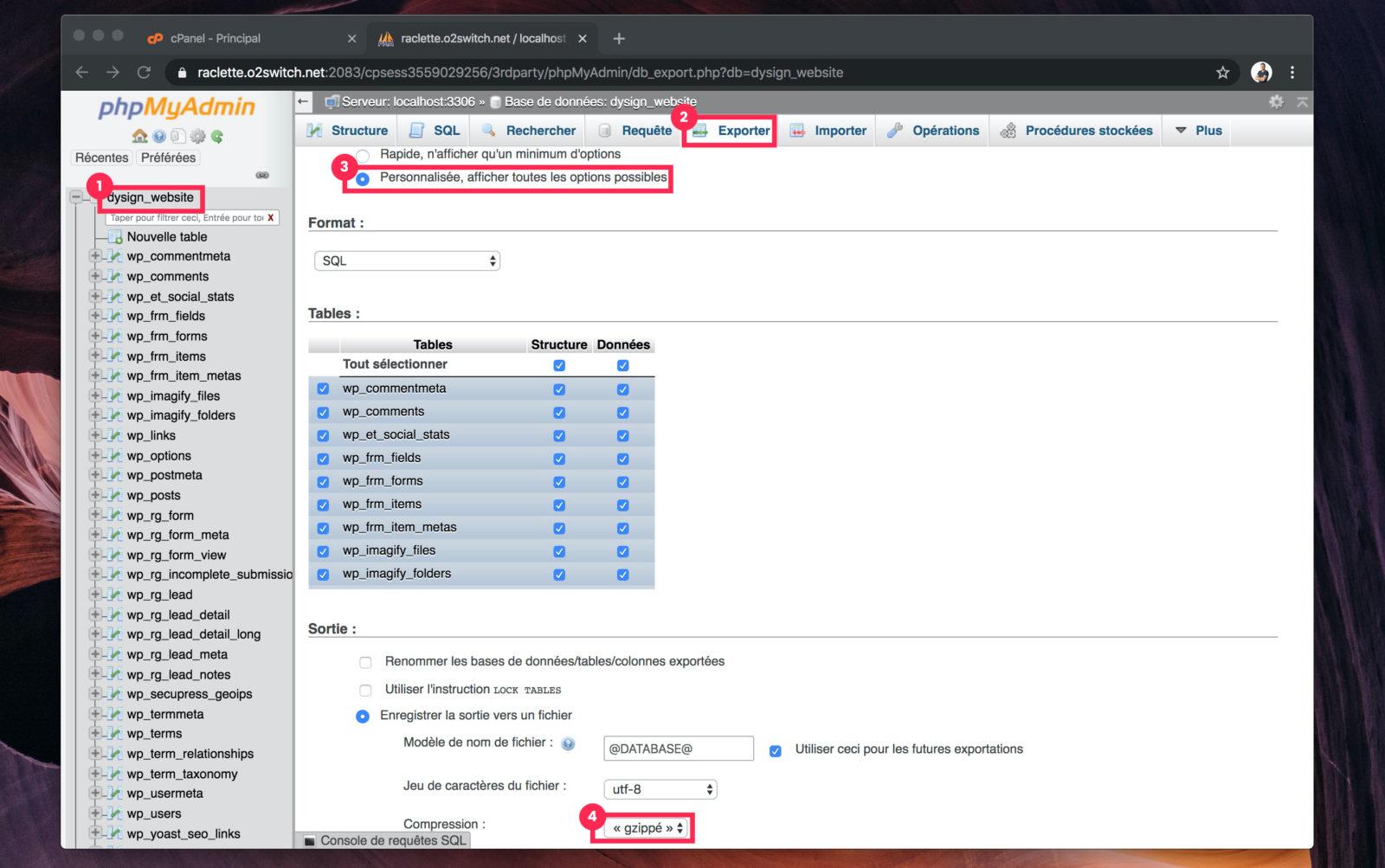 Capture d'écran de phpMyAdmin montrant l'interface d'export de base