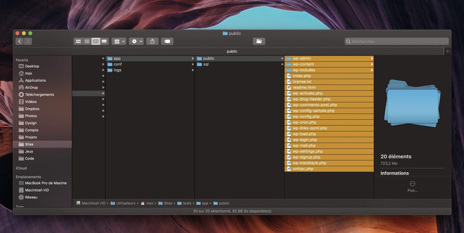 Capture d'écran du système de fichiers, avec les fichiers WordPress à envoyer via FTP