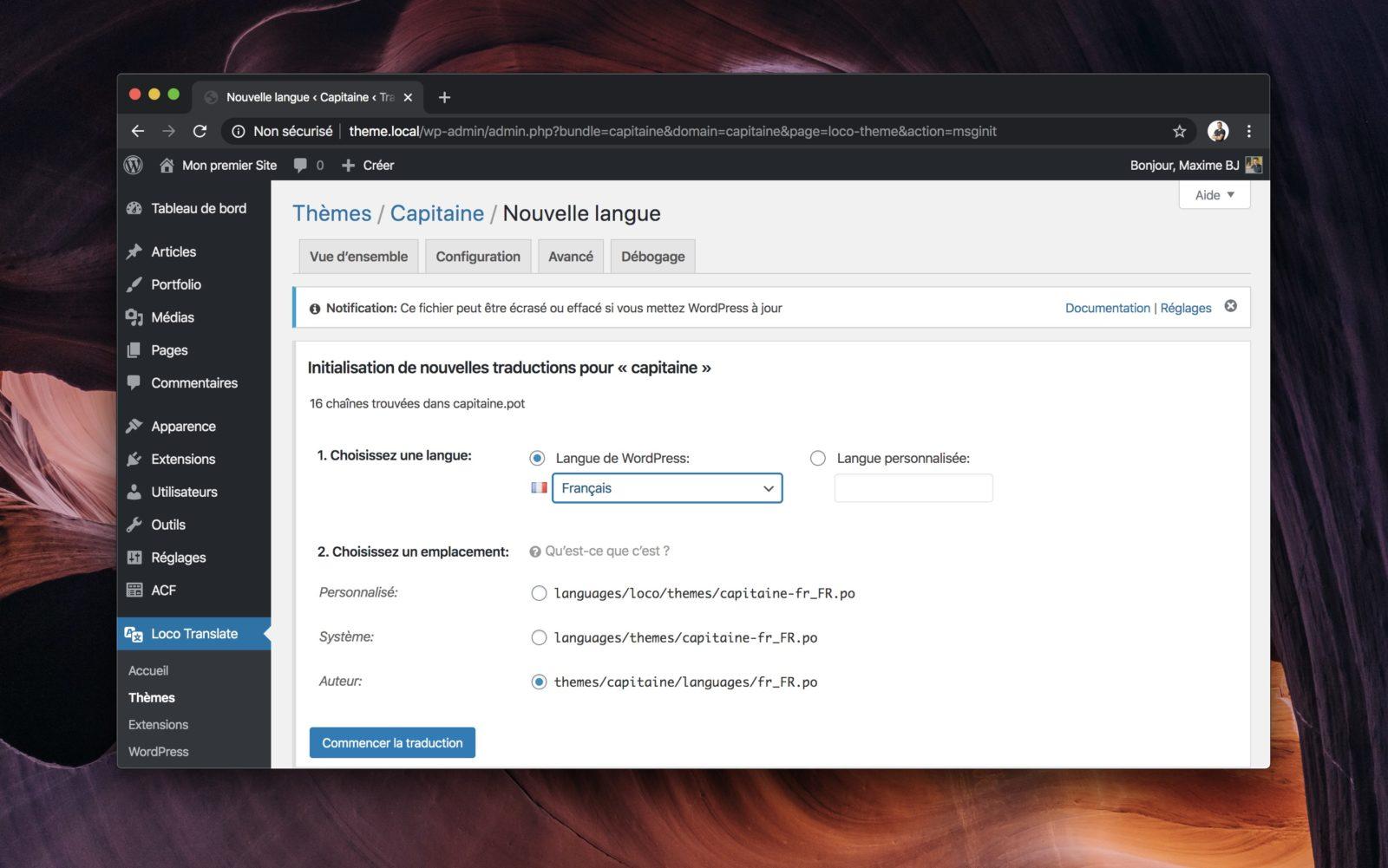 L'interface d'ajout d'un nouvelle langue dans Loco Translate