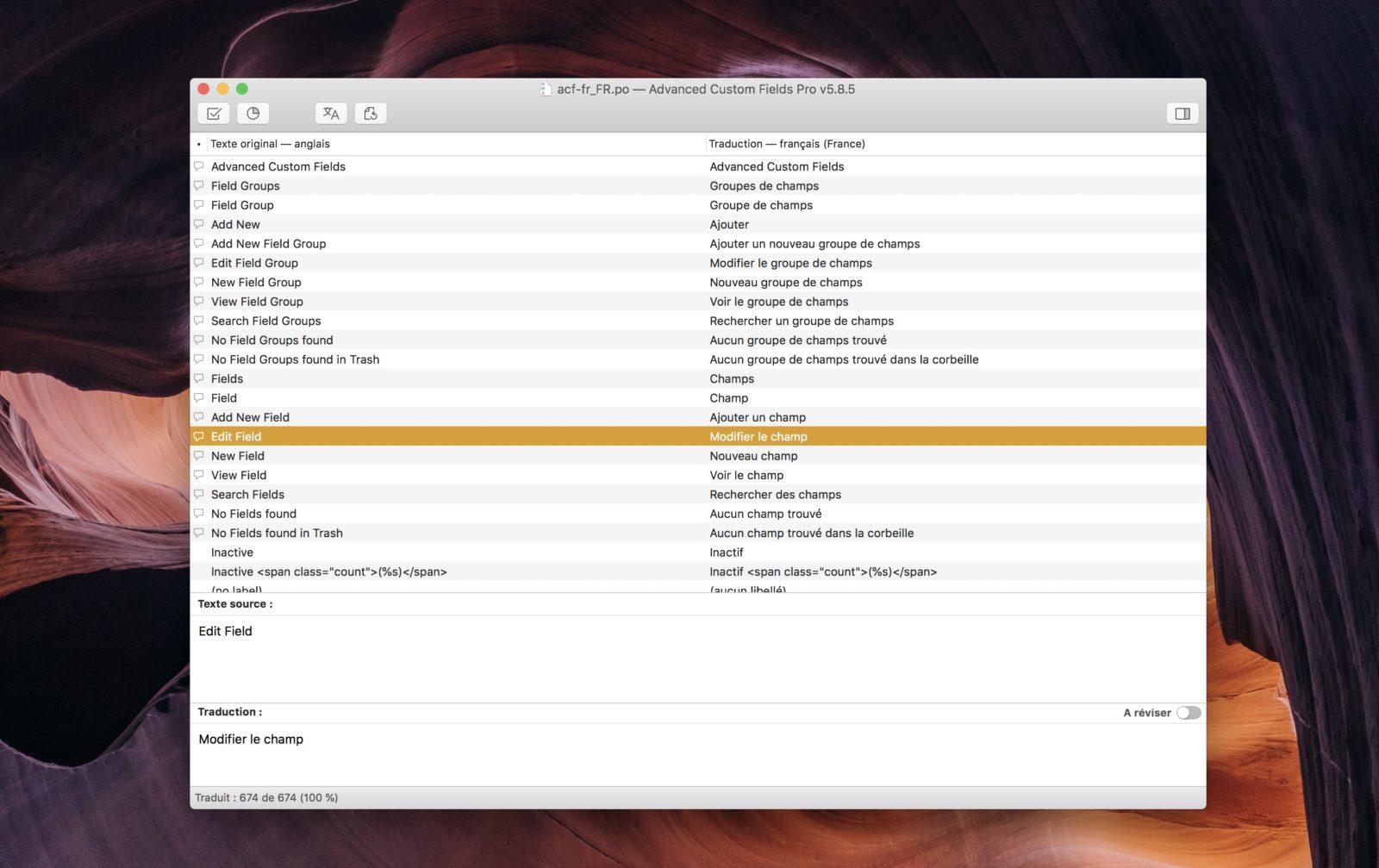 Capture d'écran du logiciel Poedit et son interface de traduction