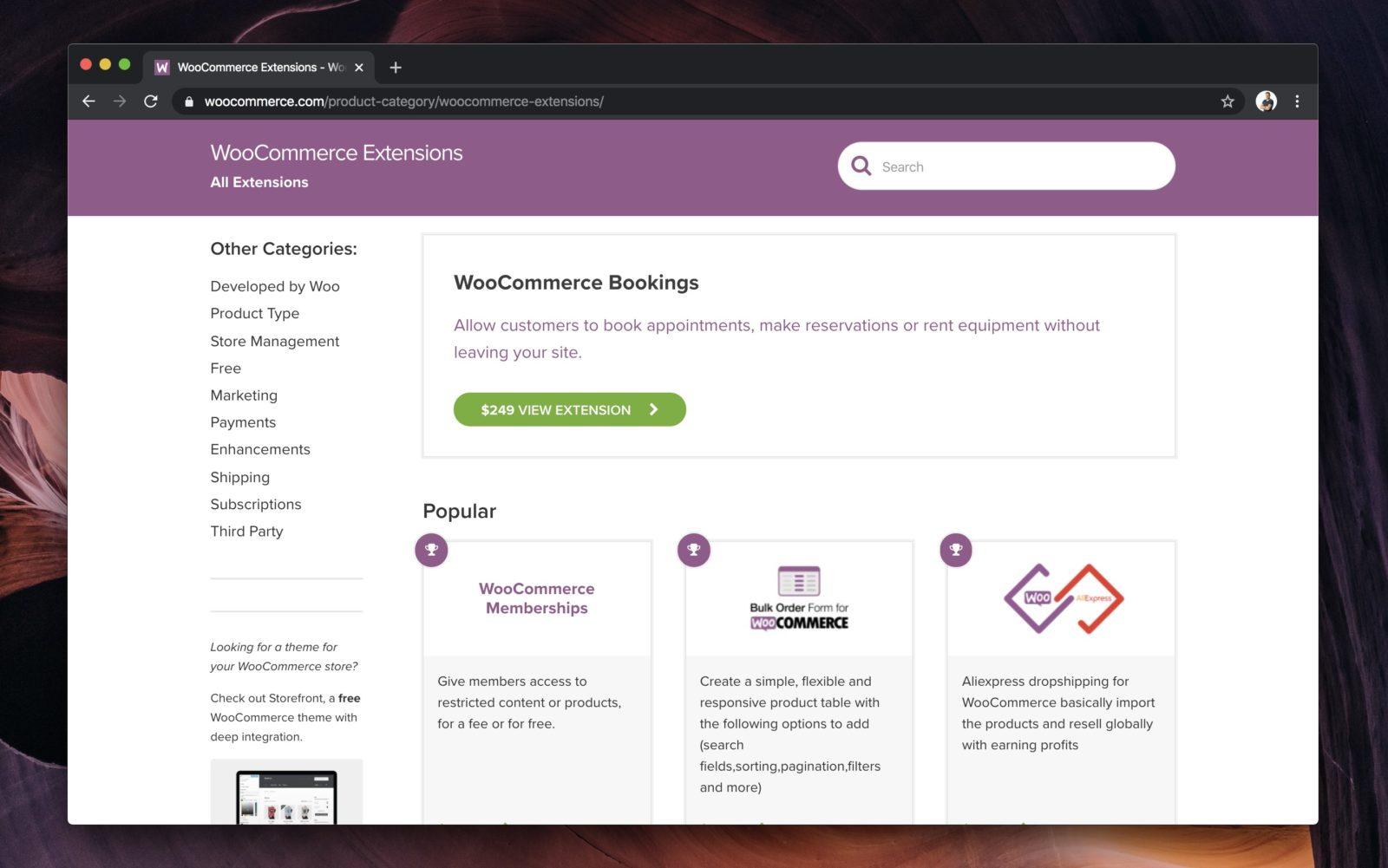 Capture d'écran du site WooCommerce.com proposant de nombreux add-ons