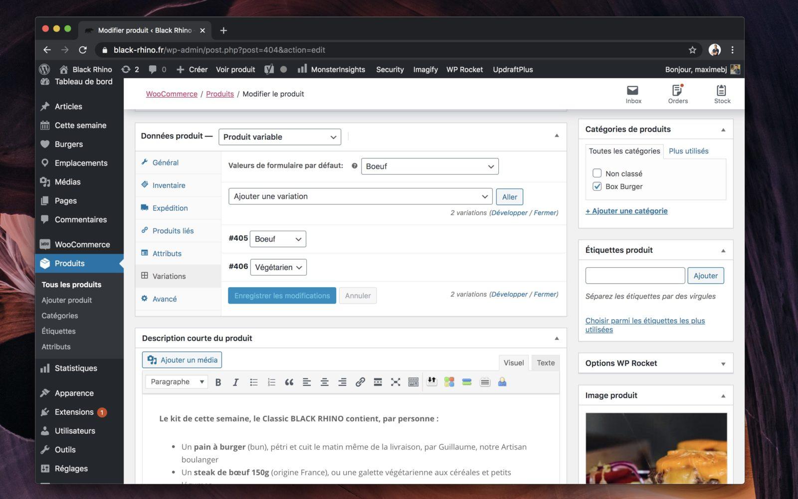 Capture d'écran de la page de gestion de produit WooCommerce