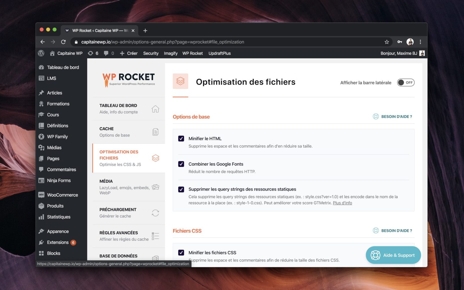 Capture d'écran de l'interface de configuration de WP Rocket