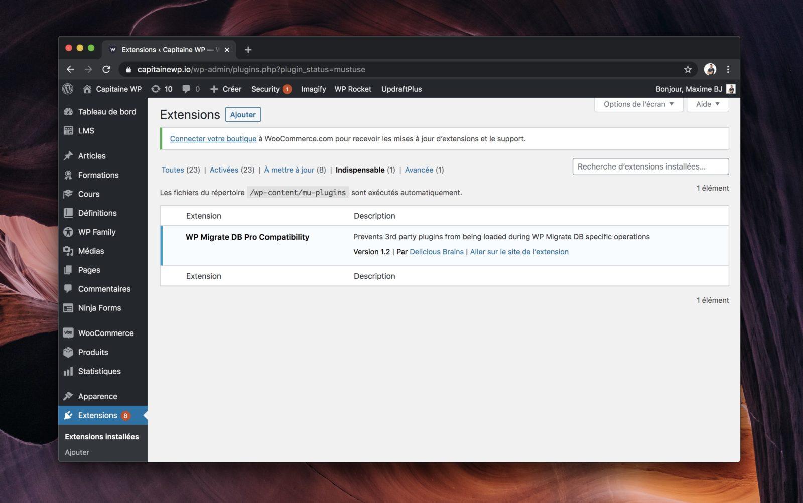 Liste des mu-plugins dans une installation WordPress